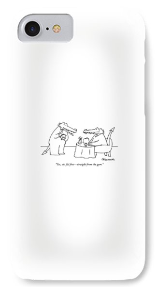 Alligator iPhone 7 Case - Yes, Sir, Fat Free - Straight From The Gym by Charles Barsotti