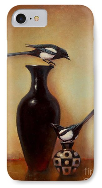 Magpies iPhone 7 Case - Yin Yang - Magpies  by Lori  McNee