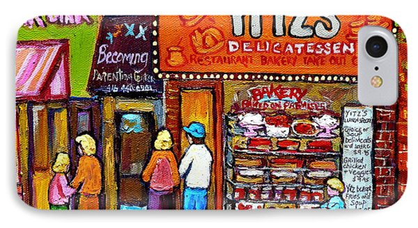 Yitzs Deli Toronto Restaurants Cafe Scenes Paintings Of Toronto Landmark City Scenes Carole Spandau  Phone Case by Carole Spandau