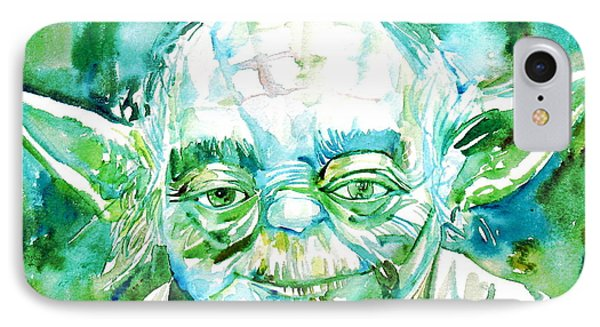 Yoda Watercolor Portrait IPhone Case by Fabrizio Cassetta