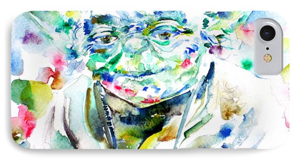Yoda Watercolor Portrait.1 IPhone Case by Fabrizio Cassetta