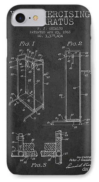 Yoga Exercising Apparatus Patent From 1968 - Charcoal IPhone Case by Aged Pixel