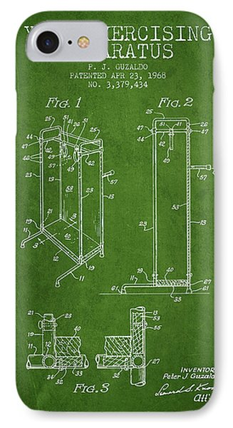 Yoga Exercising Apparatus Patent From 1968 - Green IPhone Case by Aged Pixel
