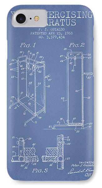 Yoga Exercising Apparatus Patent From 1968 - Light Blue IPhone Case by Aged Pixel
