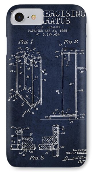 Yoga Exercising Apparatus Patent From 1968 - Navy Blue IPhone Case by Aged Pixel