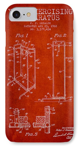 Yoga Exercising Apparatus Patent From 1968 - Red IPhone Case by Aged Pixel