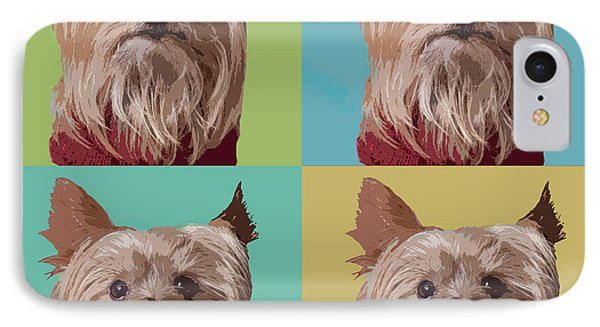 Yorkie Times Four IPhone Case by Susan Stone