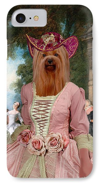 Yorkshire Terrier Art - Dancing At The Fountain IPhone Case by Sandra Sij