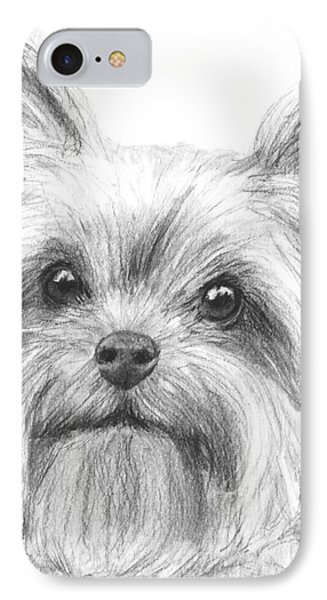 Yorkshire Terrier Drawing IPhone Case by Kate Sumners