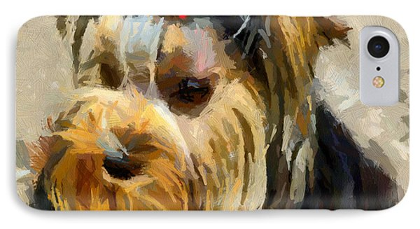 IPhone Case featuring the painting Yorkshire Terrier by Georgi Dimitrov
