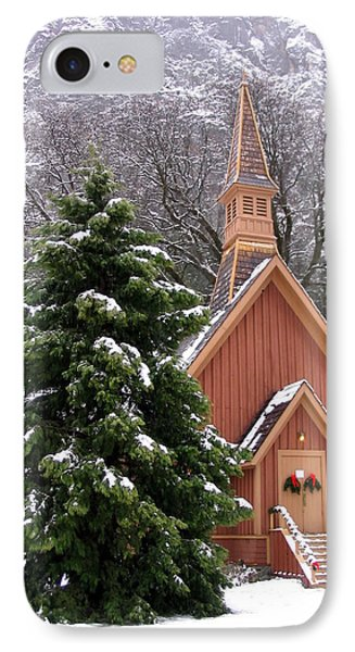 IPhone Case featuring the photograph Yosemite Chapel In Winter by Kevin Desrosiers