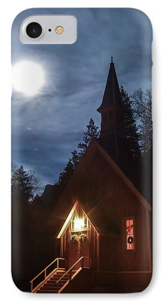 Yosemite Chapel Under A Full Moon IPhone Case
