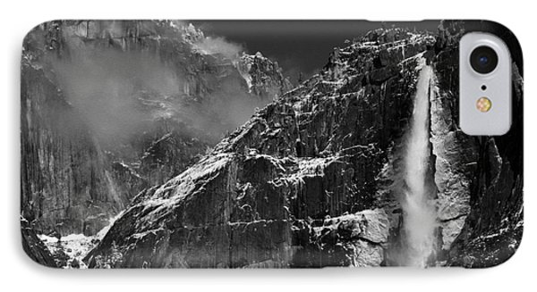 Yosemite Falls In Black And White Phone Case by Bill Gallagher