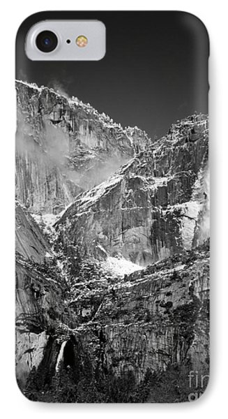 Yosemite Falls In Black And White II Phone Case by Bill Gallagher