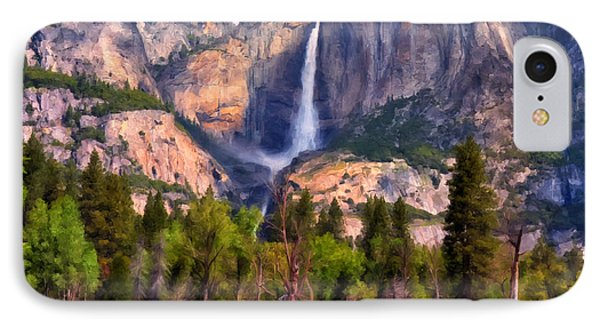 IPhone Case featuring the painting Yosemite Falls by Michael Pickett