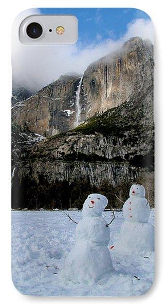 Yosemite Falls Snowmen Phone Case by Patricia Sanders