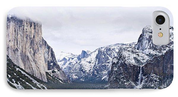 Yosemite Tunnel View In Winter Phone Case by Priya Ghose