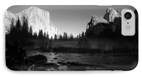 Yosemite Valley View Black And White IPhone Case