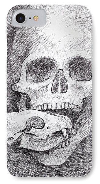 You Are What You Eat Skull Drawing Phone Case by Adam Long