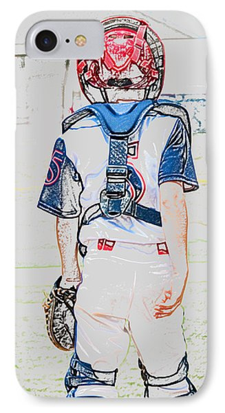 Young Baseball Catcher During Game. IPhone Case by Tammy Abrego