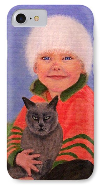 IPhone Case featuring the painting Young Boy And Geriatric Kitty by Janet Greer Sammons