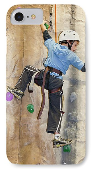 Young Boy On A Climbing Wall IPhone Case
