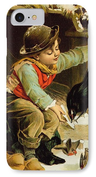 Young Boy With Birds In The Snow IPhone Case by English School