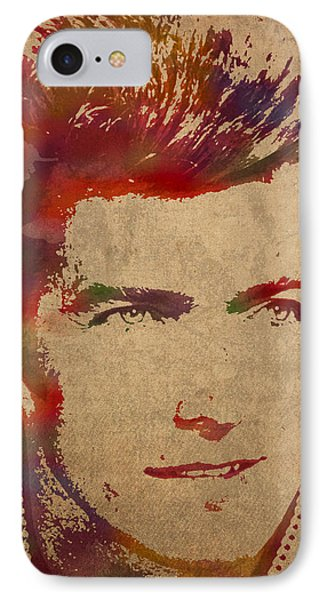 Young Clint Eastwood Actor Watercolor Portrait On Worn Parchment IPhone Case