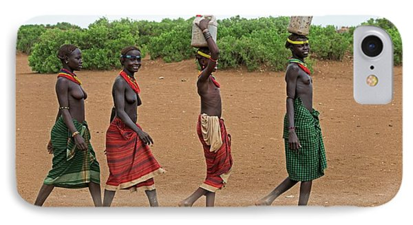 Young Dassenech Girls Carrying Water IPhone Case by Tony Camacho