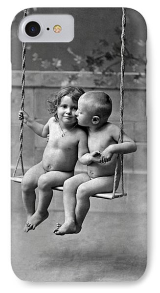 Young French Lovers On A Swing IPhone Case by Underwood Archives