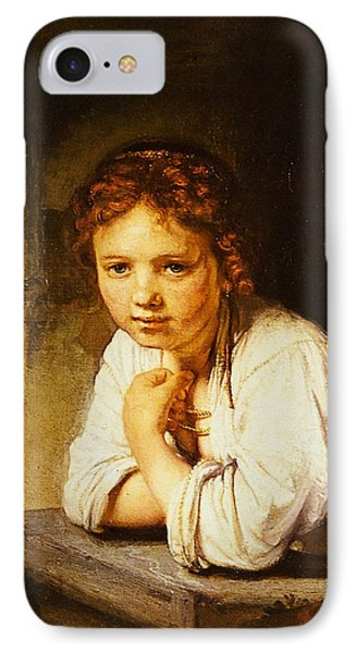 Young Girl At A Window IPhone Case by Rembrandt