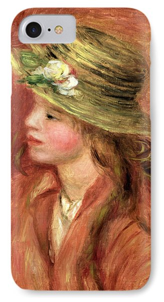 Young Girl In A Straw Hat IPhone Case by Pierre Auguste Renoir