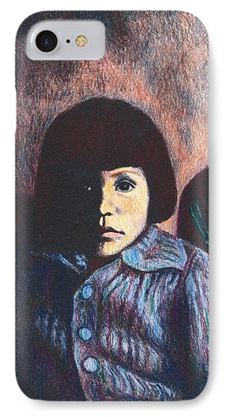 Young Girl In Blue Sweater Phone Case by Kendall Kessler