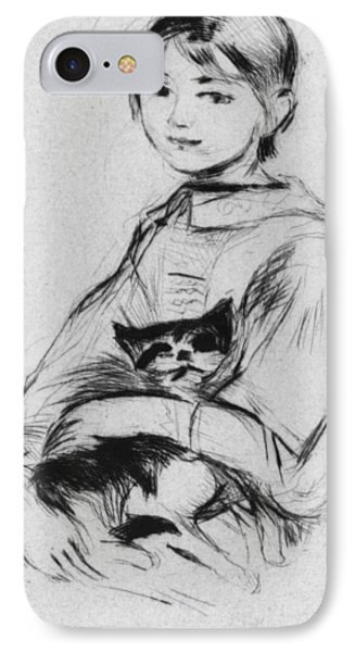 Young Girl With Cat IPhone Case by Berthe Morisot