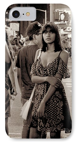 Girl With Red Dress - Times Square IPhone Case by Miriam Danar