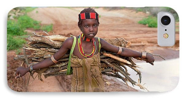 Young Hamar Girl Collecting Fire Wood IPhone Case by Tony Camacho