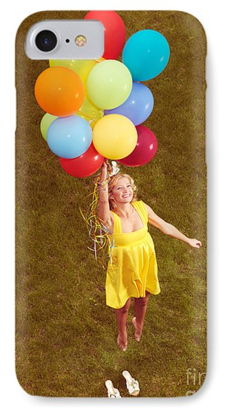 Young Happy Woman Flying On Colorful Helium Balloons Phone Case by Oleksiy Maksymenko