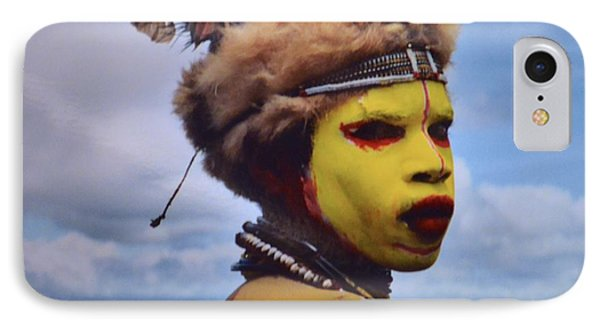 Young Huli Warrior Papua New Guinea IPhone Case by Alex King