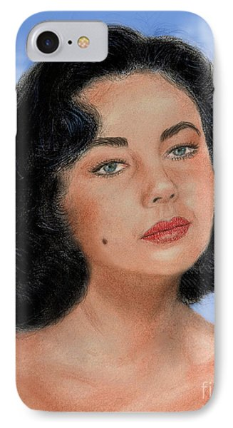 Young Liz Taylor Portrait Remake Version II IPhone Case by Jim Fitzpatrick