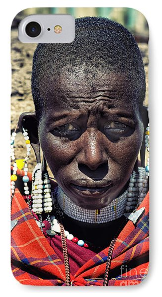 Portrait Of Young Maasai Woman At Ngorongoro Conservation Tanzania IPhone Case by Amyn Nasser