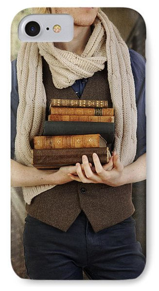 IPhone Case featuring the photograph Young Man With Books by Ethiriel  Photography