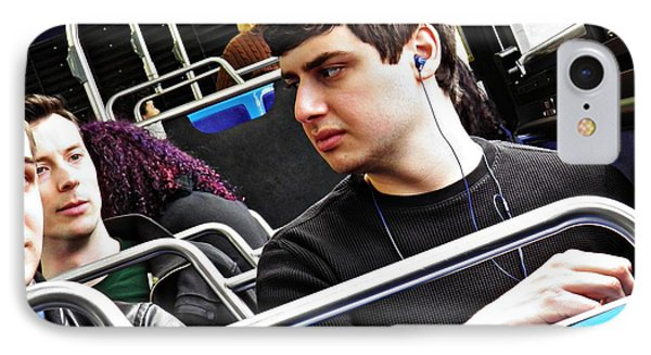 Young Men On The M4 Bus Phone Case by Sarah Loft