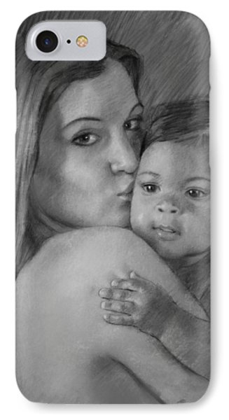IPhone Case featuring the drawing Young Mother With Her Baby by Viola El