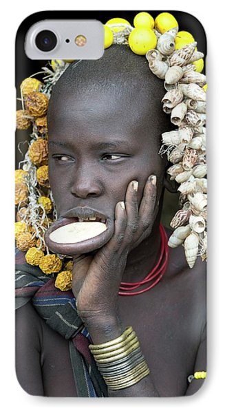 Young Mursi Girl With Lip Plate Inserted IPhone Case by Tony Camacho