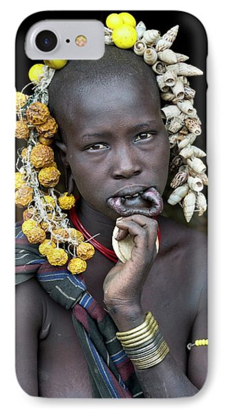 Young Mursi Girl Without Lip Plate IPhone Case by Tony Camacho