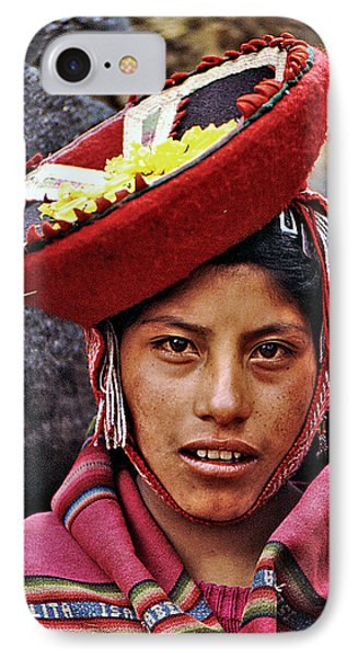 IPhone Case featuring the photograph Young Peruvian Girl With Hat by Christopher McKenzie