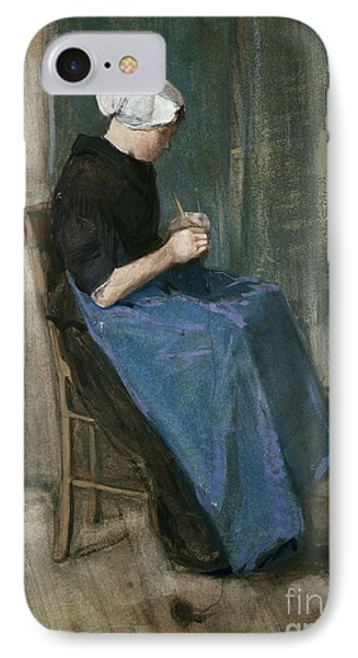 Young Scheveningen Woman Knitting Facing Right Phone Case by Vincent van Gogh