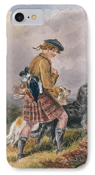 Young Scottish Gamekeeper With Dead Game IPhone Case by English School