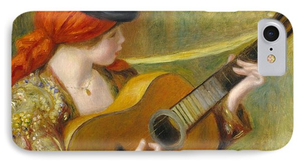 Young Spanish Woman With A Guitar IPhone Case by Pierre Auguste Renoir