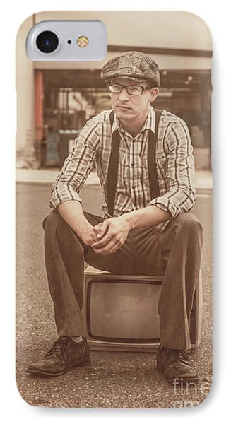 Young Vintage Man Seated On Old Tv IPhone Case by Jorgo Photography - Wall Art Gallery